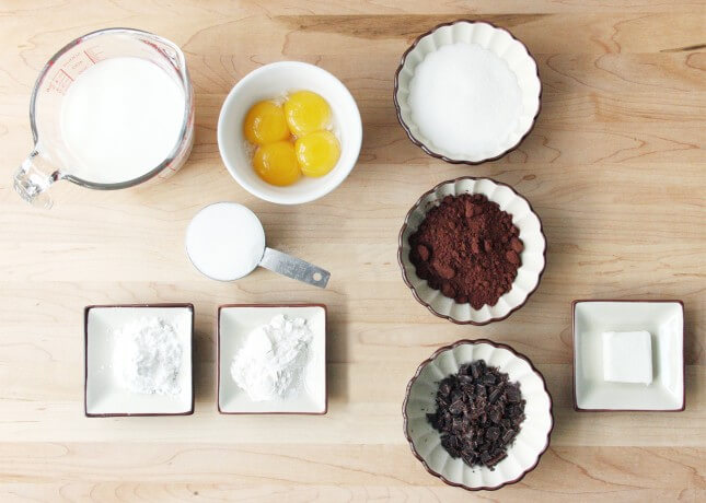 Ingredients to make Chocolate Pastry Cream // FoodNouveau.com