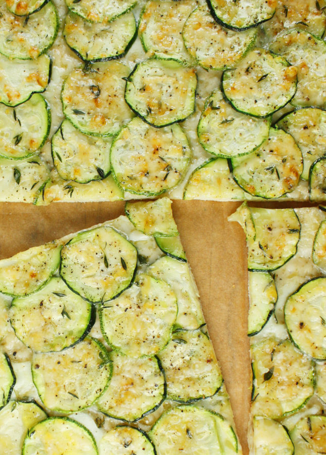 Zucchini and Thyme Roman-Style Pizza // FoodNouveau.com
