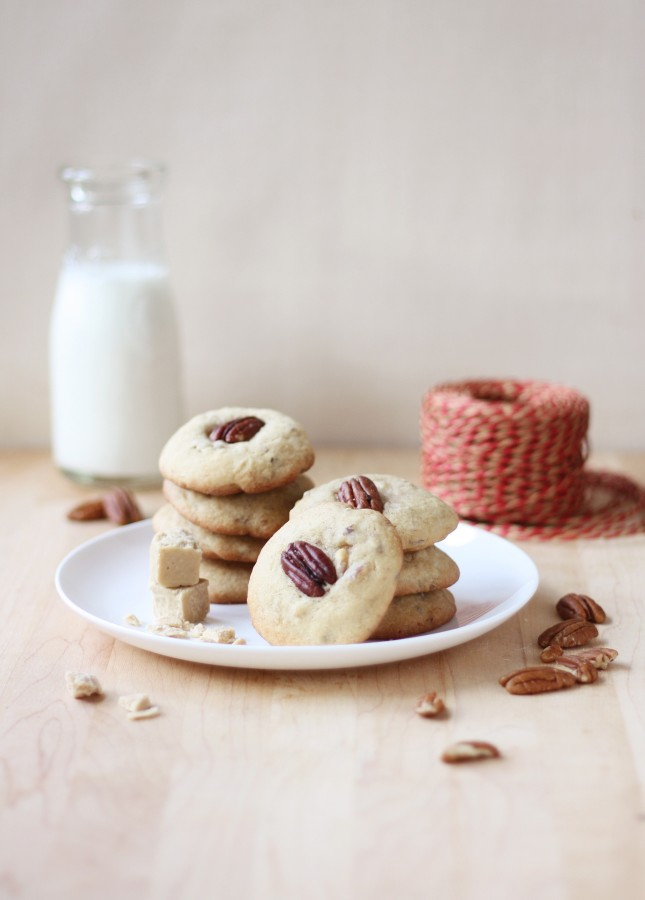 Chewy Maple Syrup Fudge and Pecan Cookies // FoodNouveau.com