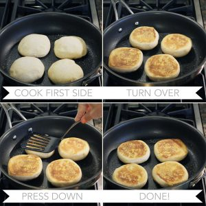Cooking whole wheat English muffins in a skillet // FoodNouveau.com