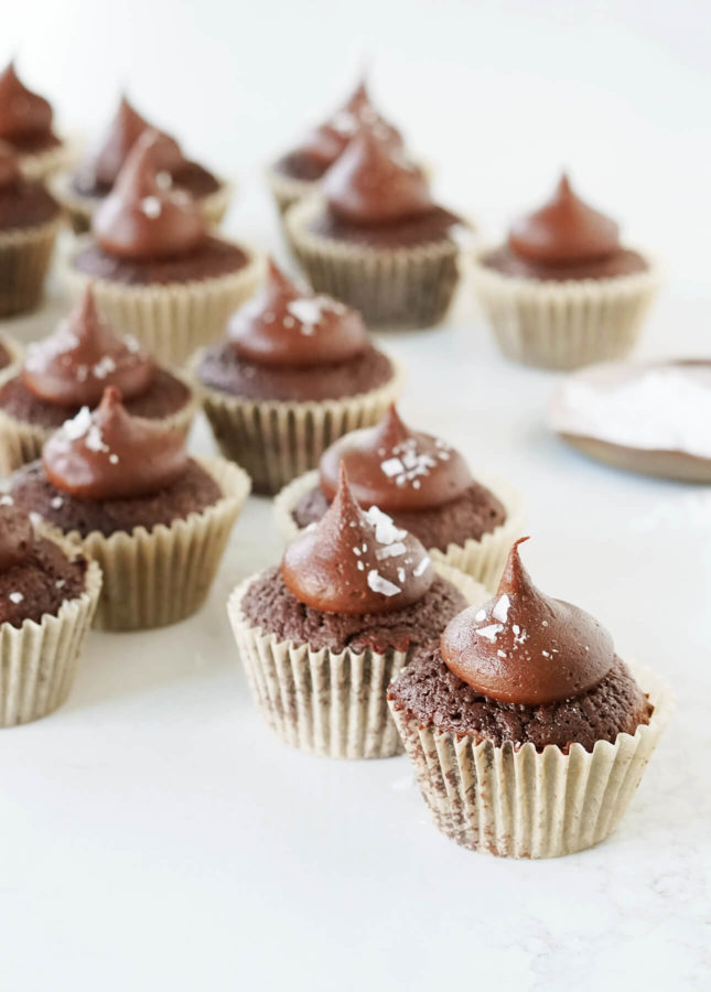 Brownie Bites with Salted Fudge Frosting // FoodNouveau.com